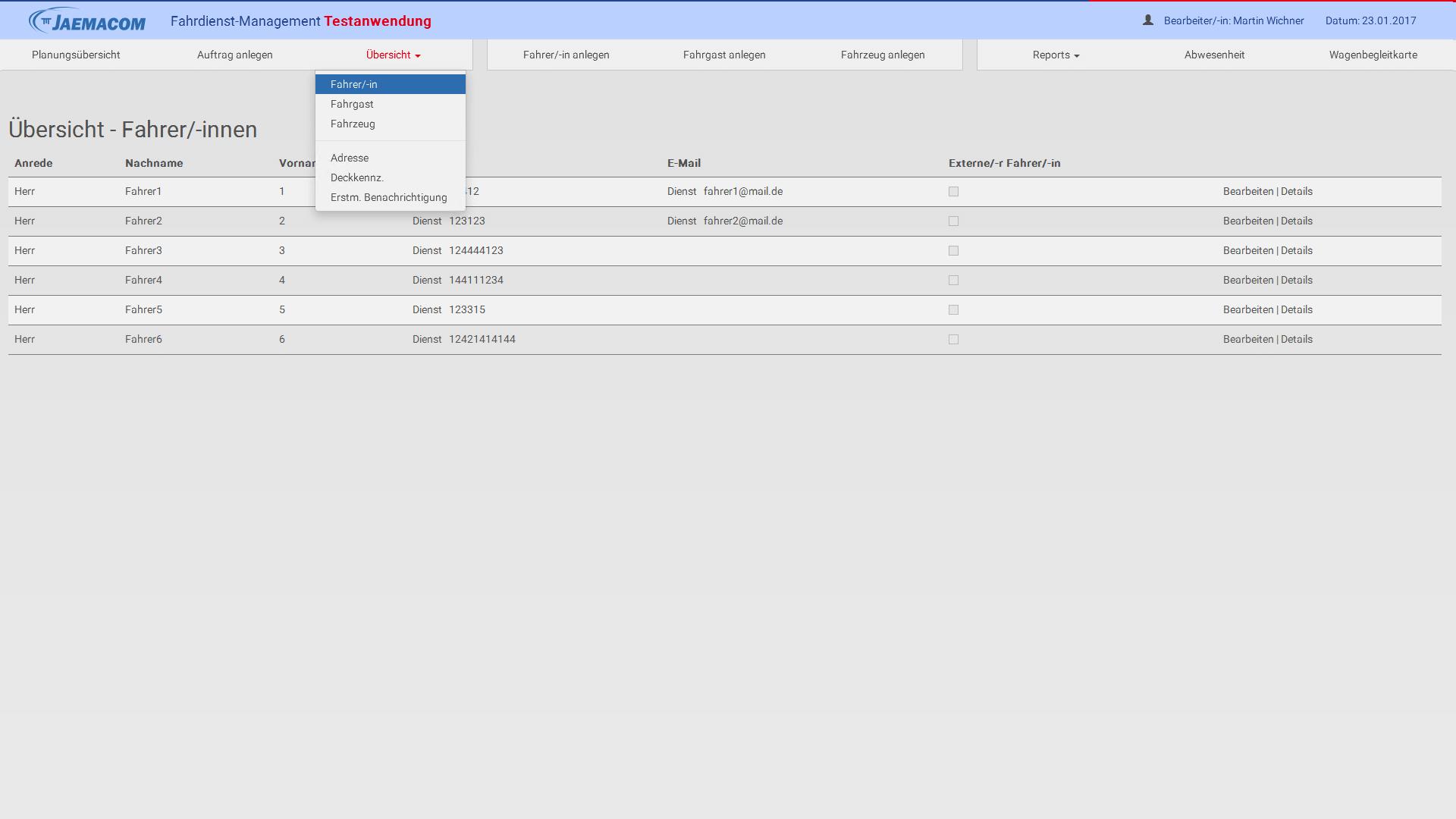 Liste der angestellten Fahrer im einfachen Überblick