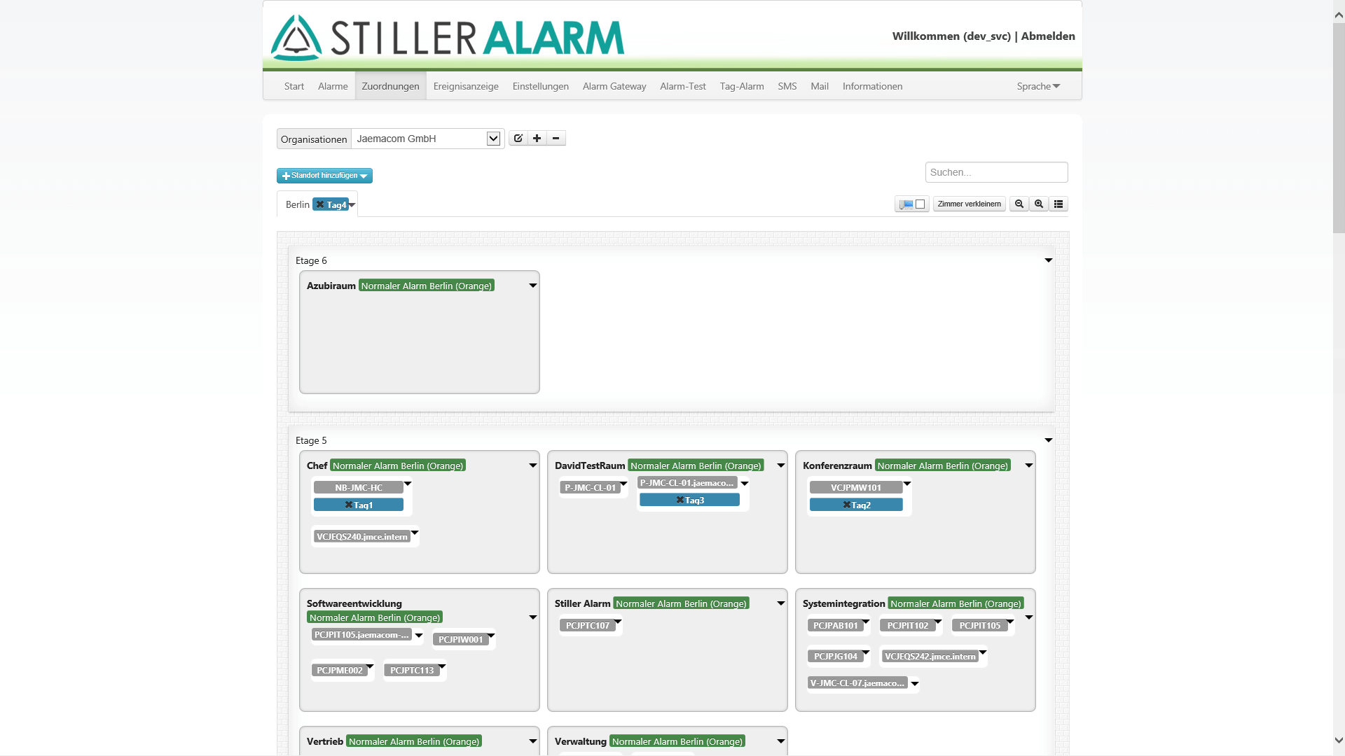 Stiller Alarm - Admin Platzzuordnung
